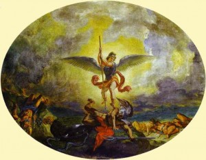 jpg_Eugene_Delacroix._St._Michael_Defeats_the_Devil._1854-1861._Oil_and_virgin_wax_on_plaster._Saint-Sulpice_Paris_France[1]
